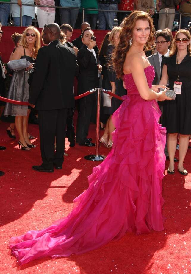 Hit:Brooke Shields, 2008. Pretty in pink, indeed. Shields looked beautiful in this Badgley Mischka gown. Photo: Steve Granitz, WireImage