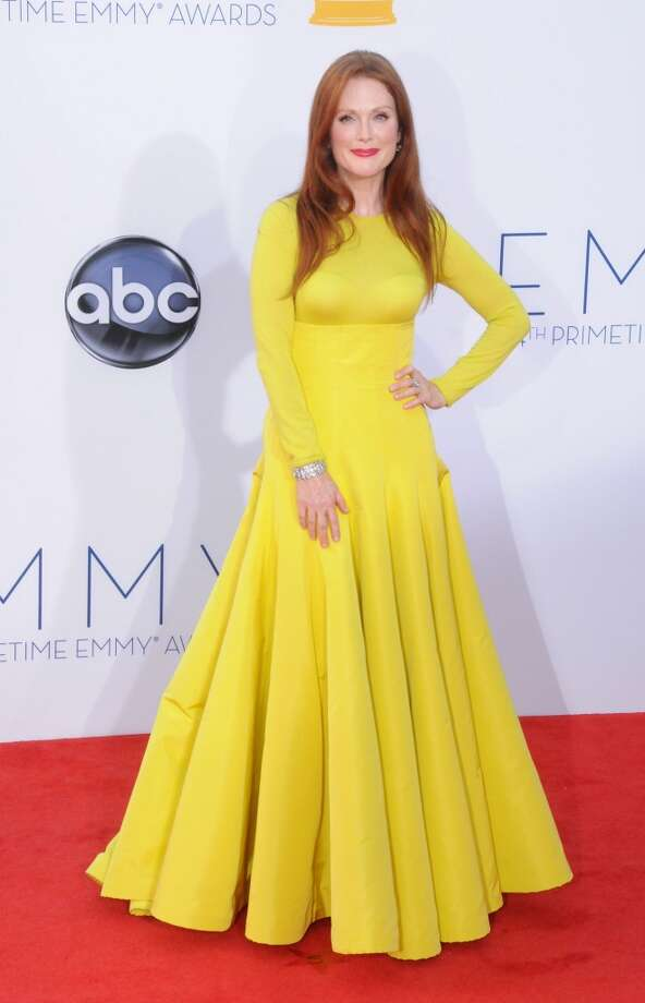 Miss:Julianne Moore, 2012. We love Julianne Moore. But even if we ignore the color (we know, we know, it's hard to do), this Christian Dior gown is wildly unflattering. Photo: Barry King, FilmMagic