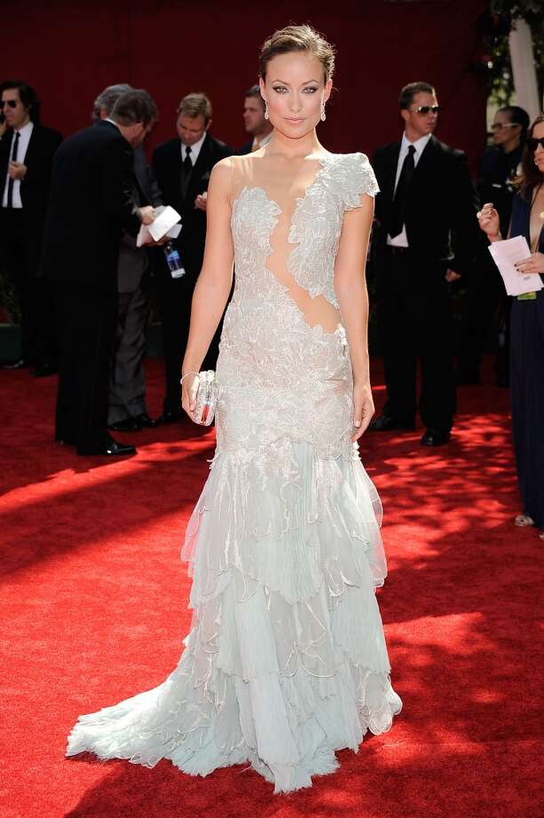 Hit:Olivia Wilde, 2009. This sheer Marchesa gown is pretty from the front. Photo: Frazer Harrison, Getty Images