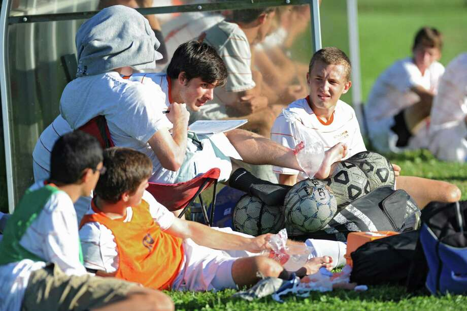 Some injured Bethlehem players watch from the sidelines during a soccer game against Niskayuna on Thursday, Sept. 19, 2013 in Delmar, N.Y.  (Lori Van Buren / Times Union) Photo: Lori Van Buren / 00023928A