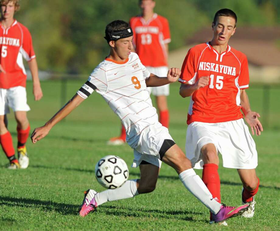 Bethlehem's Ethan Strauss, left, and Niskayuna's Nick Shanahan battle for the ball during a soccer game on Thursday, Sept. 19, 2013 in Delmar, N.Y.  (Lori Van Buren / Times Union) Photo: Lori Van Buren / 00023928A