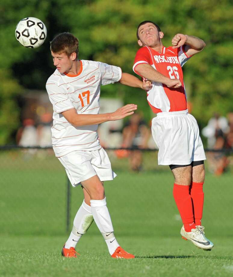 Bethlehem's Ben Licht, left, and Niskayuna's Tyler Hanft both try to head the ball during a soccer game on Thursday, Sept. 19, 2013 in Delmar, N.Y.  (Lori Van Buren / Times Union) Photo: Lori Van Buren / 00023928A