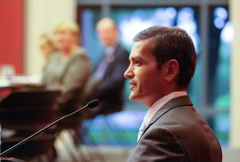 State Representative Mike Villareal speaks during a panel discussion recently on standardized testing and House Bill 5 that reduced testing for students. The event took place at Trinity University. Photo: For The San Antonio Express-News