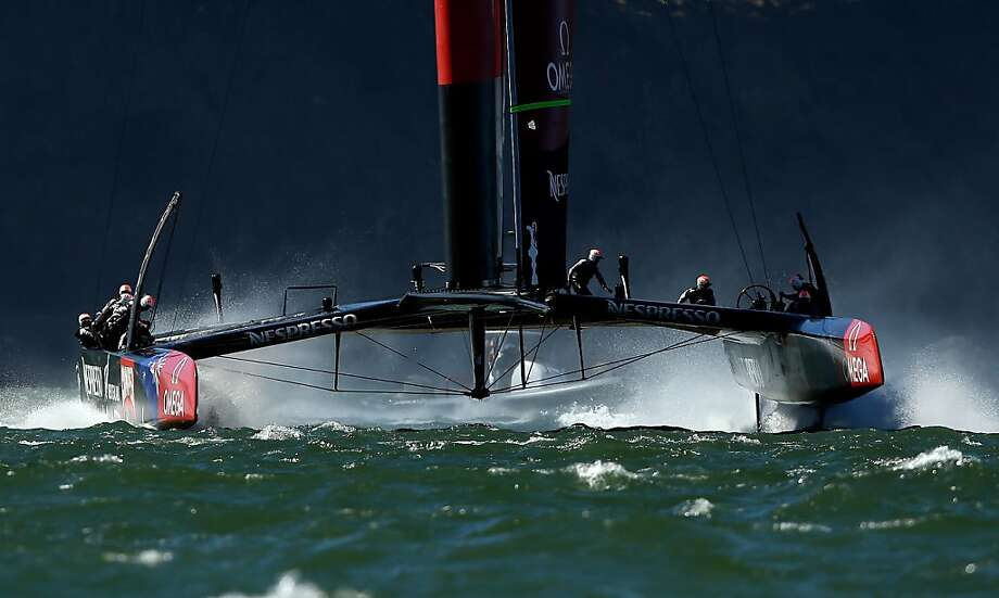 SAN FRANCISCO, CA - SEPTEMBER 19:  Emirates Team New Zealand skippered by Dean Barker practices after race 12 against Oracle Team USA in the America's Cup Finals on September 19, 2013 in San Francisco, California. Oracle Team USA won race 12 and race 13 was postponed due to high winds.  (Photo by Ezra Shaw/Getty Images) Photo: Ezra Shaw, Getty Images