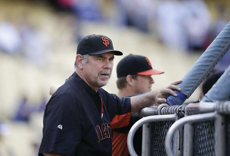 San Francisco Giants manager Bruce Bochy watches during practice for a baseball game against the Los Angeles Dodgers on Thursday, Sept. 12, 2013, in Los Angeles. (AP Photo/Jae C. Hong) Photo: Jae C. Hong, Associated Press