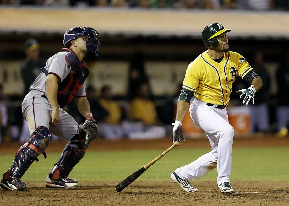 Coco Crisp follows the flight of his two-run tie-breaking home run off Minnesota's Shairon Martis in the eighth inning. Photo: Marcio Jose Sanchez, Associated Press