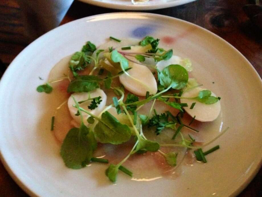 Baby turnips, beets and Mangalica ham at Bar Tartine
