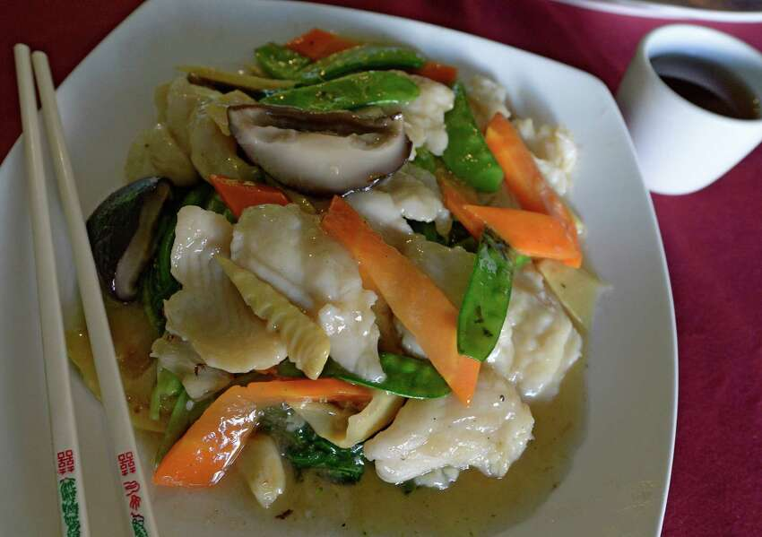 Clounder Filet with Chinese Choy Sum from the Ocean Palace Tuesday Sept 17, 2013 in Albany, N.Y. (Skip Dickstein/Times Union)
