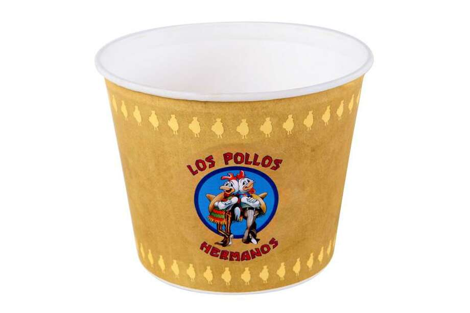 "Los Pollos Hermanos Chicken Bucket""Los Pollos Hermanos is strangely beloved in the Breaking Bad universe. On one hand, it's a front for the murderous Gustavo Fring and his drug empire. On the other hand, it's a great chicken restaurant that even DEA agents enjoy. Plus it has a comical -- now iconic -- logo. This chicken bucket, complete with cartoon chicken logo, was screen-used inBreaking Bad.  It's sure to make Breaking Bad fans smile, and will be a colorful and valuable addition to any collection.""See the item at ScreenBid.com Photo: ScreenBid.com"