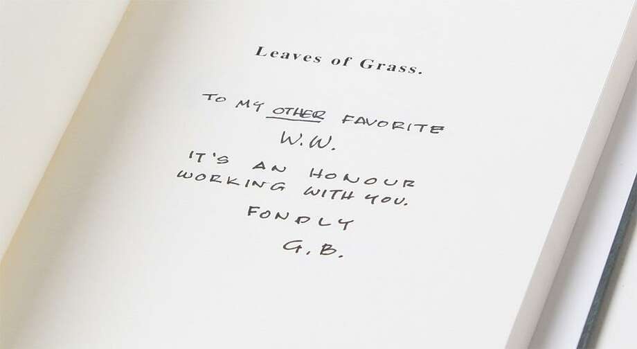 "Walter White's Inscribed 'Leaves of Grass'""Walter White's actual copy of Leaves of Grass, complete with the now famous inscription, ""To my other favorite WW,"" is one of the most iconic props in all of Breaking Bad. Leaves author Walt Whitman shares the same initials as Walter White, and the inscription leads to some serious consequences when Walt's brother-in-law, DEA Agent Hank Schrader, reads it (oddly enough, while sitting in the bathroom at Walt's house). Walt mentions the book several times in the series, and searches frantically for it in the 9th episode of the final season. Ultimately, he realizes that Hank has the book, and has figured out that Walt, played by Bryan Cranston, is the murderous drug lord he has been after. Only three inscribed copies of Leaves of Grass were used onscreen. This book is a must for the serious collector and will make an outstanding addition to any collection.""See the item at ScreenBid.com Photo: ScreenBid.com"