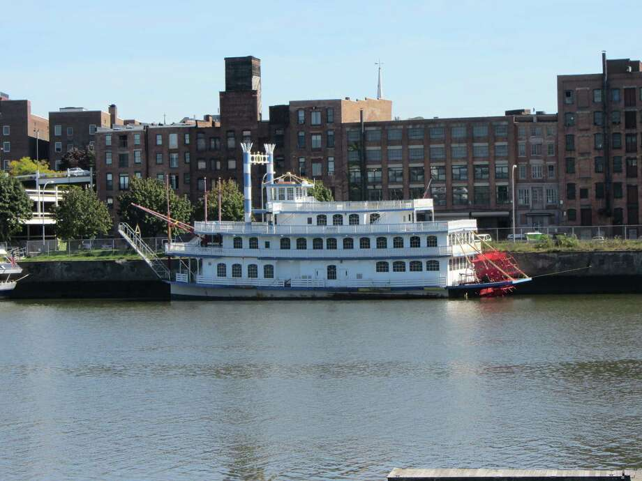 A Mississipi River-style paddleboat that can carry up to 400 passengers recently arrived at the Captain J.P. Cruise Line dock in downtown Troy. The cruise line, based at 278 River St., paid $357,200 for the 140-foot-long Liberty Belle in an auction held in Baltimore, according to the Baltimore Sun. (Bob Gardinier / Times Union)