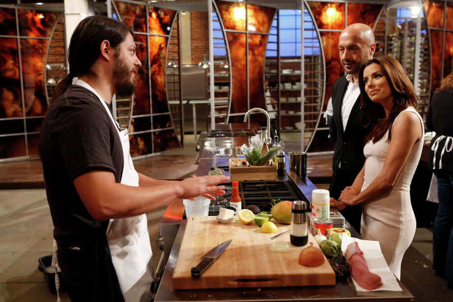 James Nelson discusses his dish with Joe Bastianich and guest Judge Eva Longoria.