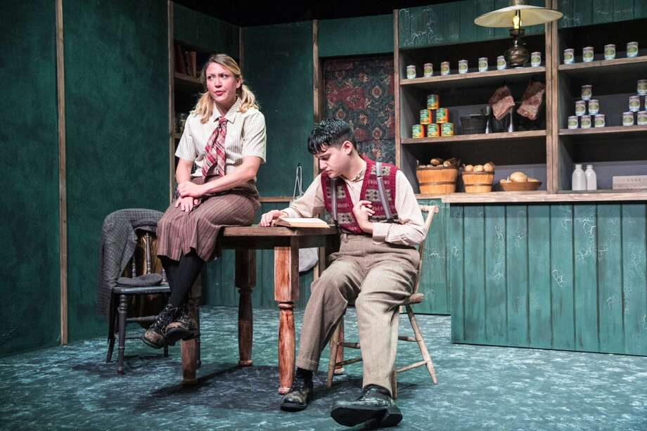 """The Cripple of Inishmaan,"" by Martin McDonagh, will be on stage at TheatreWorks New Milford, Conn., from Friday, Sept. 20 to Saturday, Oct. 12, 2013. From left are Ali Bernhardt as Helen and Joe Russo as Cripple Billy. Photo: Contributed Photo/Richard Pettib, Contributed Photo"