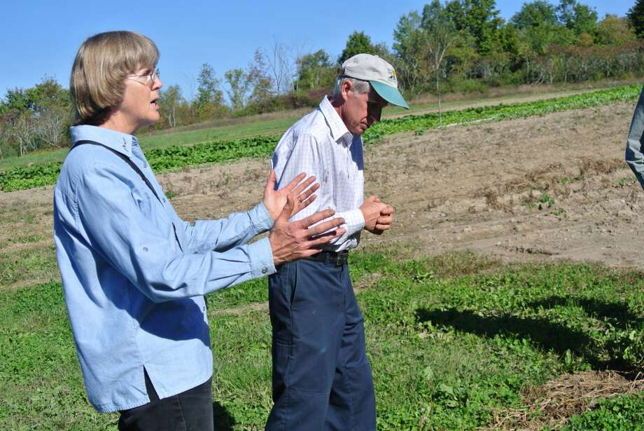 FILE-- Sandy and Paul Arnold, owners of Pleasant Valley Farm, discuss farming practices. Photo: Deanna Fox