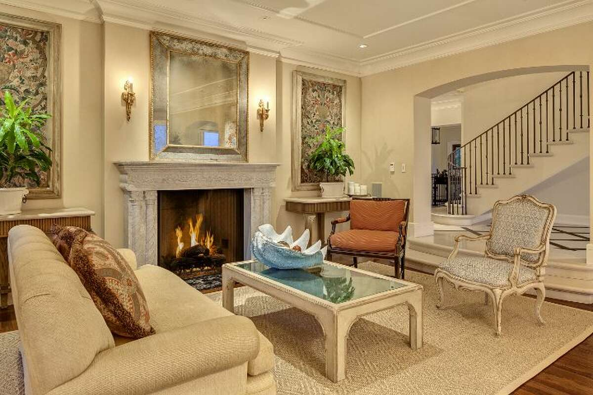 Living room of a 1933 mansion at an undisclosed address on Queen Anne hill. It's listed for $11.5 million.