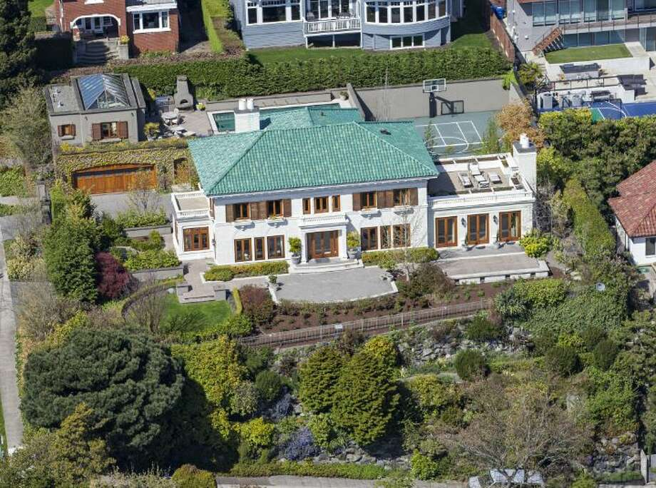 Aerial view of a 1933 mansion at an undisclosed address on Queen Anne hill. It's listed for $11.5 million. Photo: Courtesy Patrick Chinn, Windermere Real Estate
