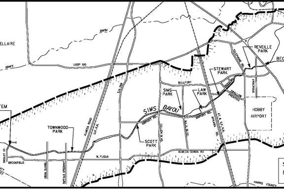 A 14 mile hike-and-bike trail is planned for the area around Sims Bayou. (City of Houston)