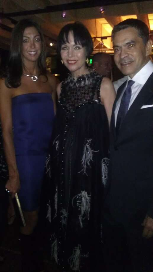 Ferragamo's Trisha Gregory, Christine Suppes (center) and Bulgari's Daniel Diaz (right) at the C Social Front party on Sept. 19 in San Francisco. Photo: Carolyne Zinko, The Chronicle