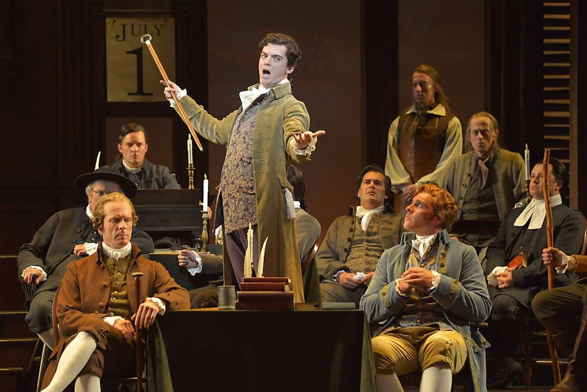 Edward Rutledge (Jarrod Zimmerman, center) addresses his fellow Continental Congress delagates in the musical