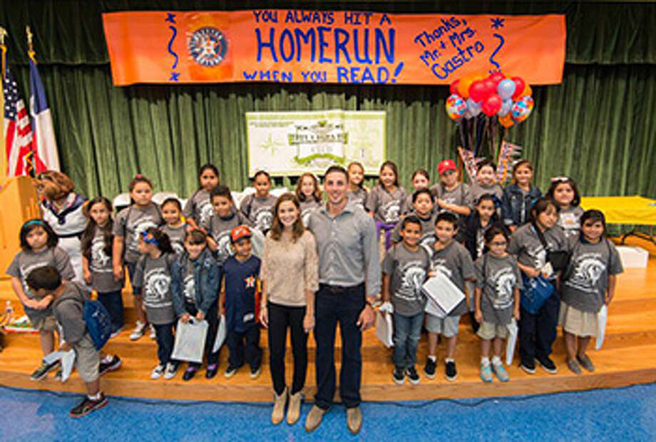 Jason Castro of the Houston Astros met with Moreno Elementary School students Sept. 11. Photo: Provided By Moreno Elementary School