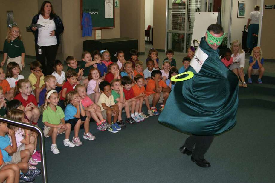 Zero the Hero keeps math fun with students at the John Cooper School. Photo: Handout