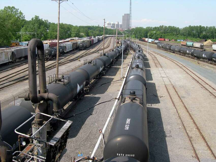CSX tanker rail cars filled with ethanol, are seen being unloaded on Cibro rail yard at the Port of Albany in Albany, N.Y. The ethanol is pumped to Cibro storage tanks before being loaded onto barges at the port of shipment.