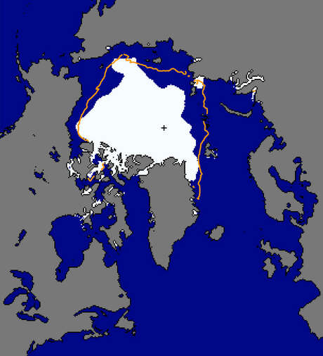 The Arctic sea ice extent this month is shown in white. The orange line shows the median extent for September from 1981 to 2010. Photo: National Snow And Ice Data Center