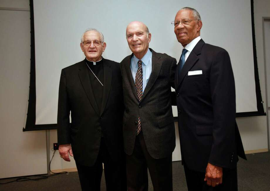 Archbishop Emeritus Joseph Fiorenza, Rabbi Samuel Karff and Baptist minister William Lawson have worked together for 30 years. Photo: Mayra Beltran, Staff / © 2013 Houston Chronicle