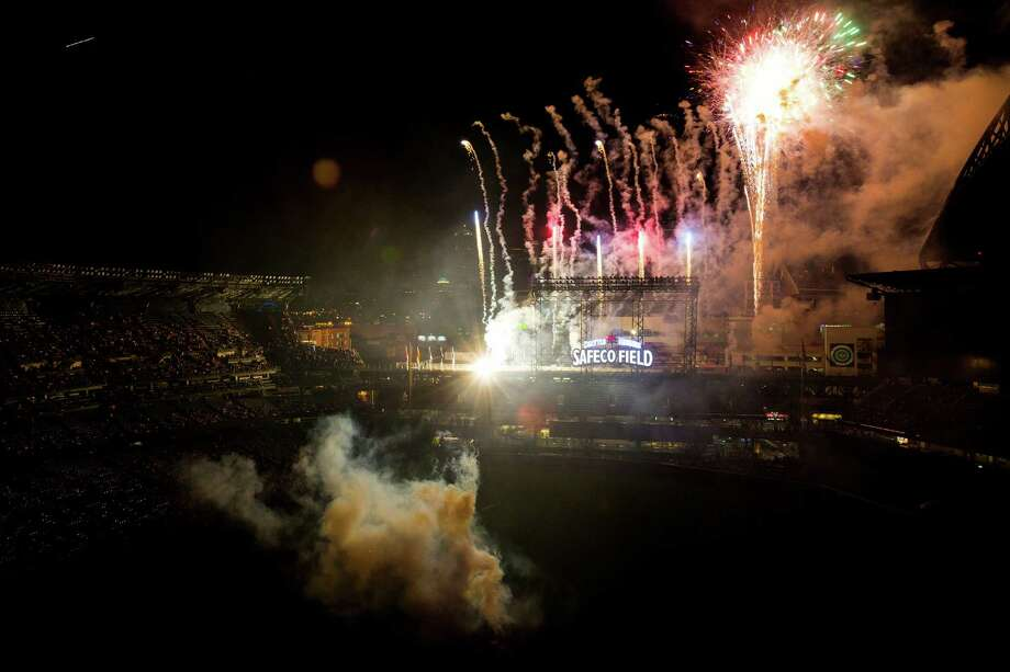 Fireworks explode over Safeco Field following a Mariners versus Chicago Cubs game. Photo: JORDAN STEAD, SEATTLEPI.COM / SEATTLEPI.COM