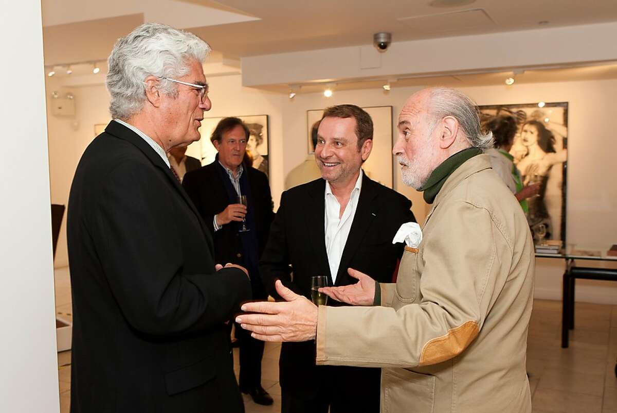 Mexican American figurative artist Miguel Conde, who has lived for decades in Spain, appeared at the opening of his first U.S. show, a retrospective, at the Serge Sorokko Gallery, running from Sept. 19-Oct. 19, 2013. A private tour was held Sept. 17, 2013. From left to right, Mexican Museum Director David de la Torre, Serge Sorokko, and artist Miguel Conde.