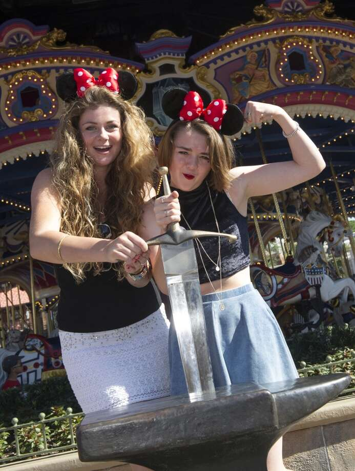 What do teenagers do when not working? Wear Minnie Mouse ears at Disneyworld, of course. Pictured are Maisie Williams, right, with friend Cassidy Waterhouse, left, on Aug. 29, 2013. Photo: Disney Parks, Getty Images