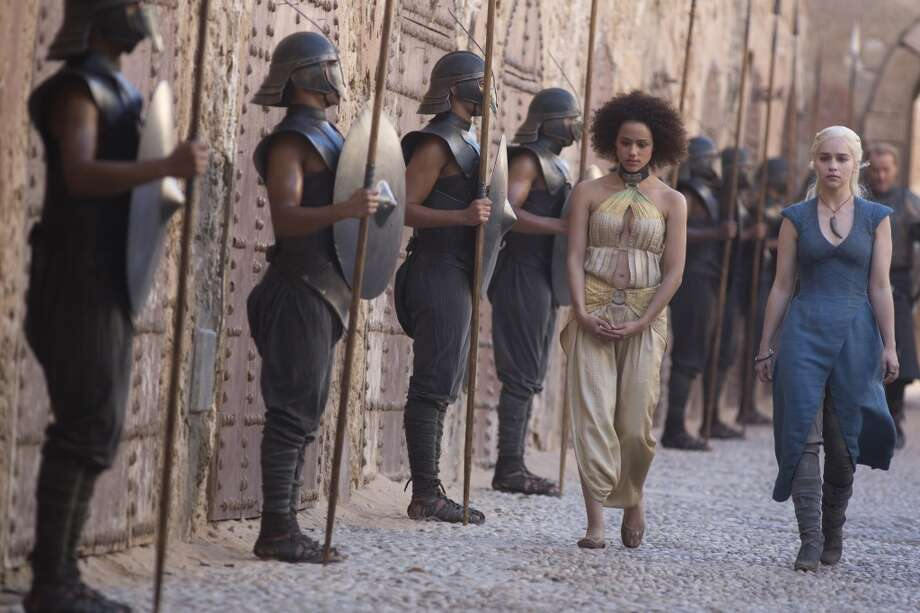 Nathalie Emmanuel, left, Missandei, and Emilia Clarke, as Daenerys Targaryen, in Season 3.