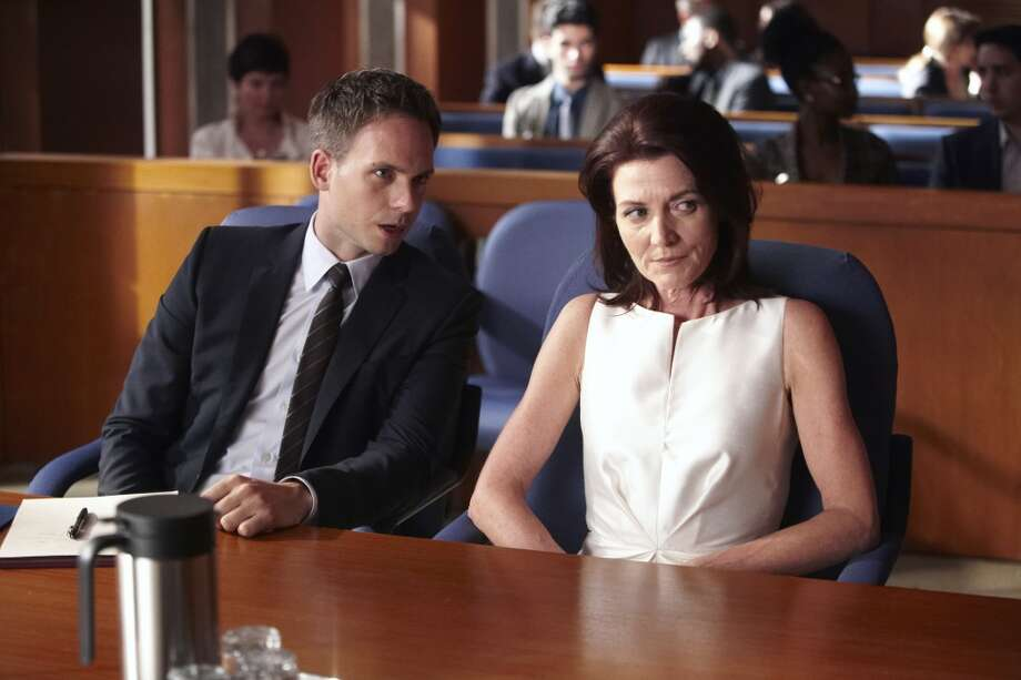 "Michelle Fairley, right, starred in the NBC show ""Suits"" in 2013 as a high-powered oil company CEO. Photo: USA Network, NBCU Photo Bank Via Getty Images"
