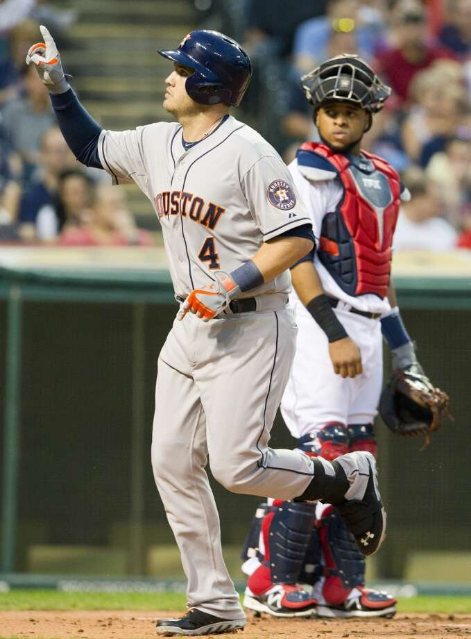 Sept. 20: Indians 2, Astros 1 (7)Brandon Laird #4 of the Astros celebrates his solo home run. Photo: Jason Miller, Getty Images