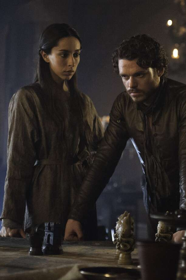 Oona Chaplin, left, as Talisa Maegyr, and Richard Madden, as Robb Stark, in Season 3. Photo: HBO
