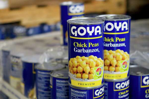 Cans of Goya chick peas are shown at the Goya plant, now under construction, Tuesday, Sept. 17, 2013, in Brookshire. The plant will reduce canned beans, soups and other products. ( Brett Coomer / Houston Chronicle )