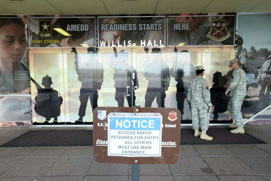 Access badges are required to enter Willis Hall at Joint Base San Antonio-Fort Sam Houston. Photo: Billy Calzada / San Antonio Express-News