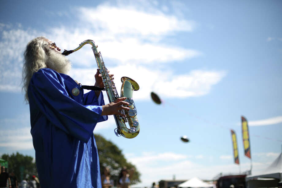 Mystic jams on his sax during the first day of Seattle's annual Hempfest. Photo: JOSHUA TRUJILLO, SEATTLEPI.COM / SEATTLEPI.COM