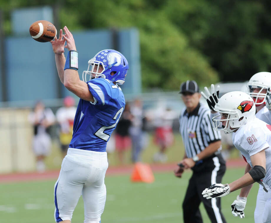 High school football game between Darien High School and Greenwich High School at Darien, Saturday, Sept. 21, 2013. Darien defeated Greenwich,42-21. Photo: Bob Luckey / Greenwich Time