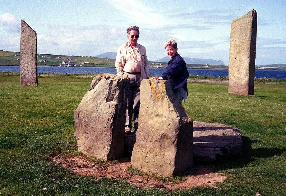 Nancy Bernard stands by the Standing Stones of Stenness, circa 3,000 B.C., in Scotland s Orkney islands in the summer of 1992 Photo: Greenwich Time