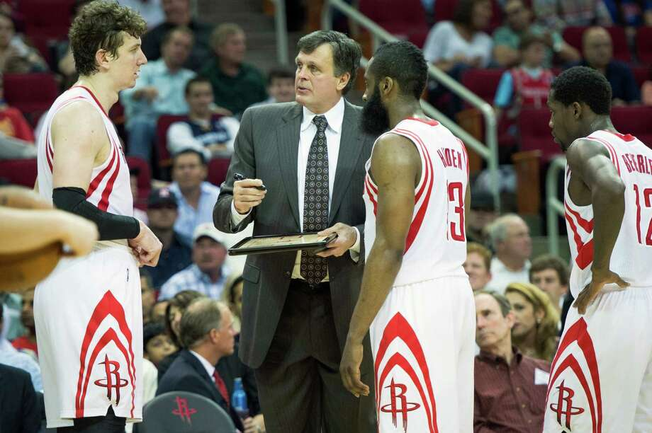 Coach Kevin McHale knows guard James Harden, right, will see plenty of minutes, but McHale's bigger decision is how to use center Omer Asik, left, now that the Rockets have Dwight Howard. Photo: Smiley N. Pool, Staff / © 2013  Houston Chronicle