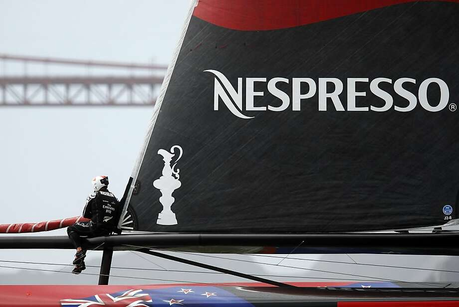 Emirates Team New Zealand's crew works on their boat before the start of race 14 of the America's Cup Finals in San Francisco, CA Saturday September 21, 2013.  Race 14 was eventually cancelled because of wind direction. Photo: Michael Short, The Chronicle