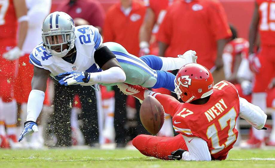 Cowboys cornerback Morris Claiborne, committing a pass interference penalty last week on Chiefs wide receiver Donnie Avery, has recorded only one interception in 17 career games. Photo: John Sleezer / Kansas City Star