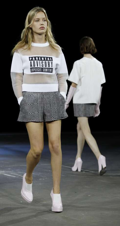 Models present creations by Alexander Wang during the Mercedes-Benz Fashion Week Spring 2014 collections on September 7, 2013 in New York. AFP PHOTO/Joshua LottJoshua LOTT/AFP/Getty Images Photo: AFP/Getty Images