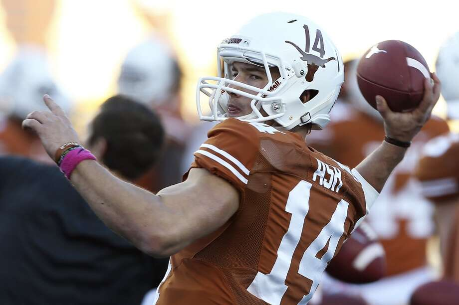 David Ash gets in warm up throws as Texas hosts Kansas State at Darrell K. Royal - Texas Memorial Stadium  on September 21, 2013. Photo: TOM REEL