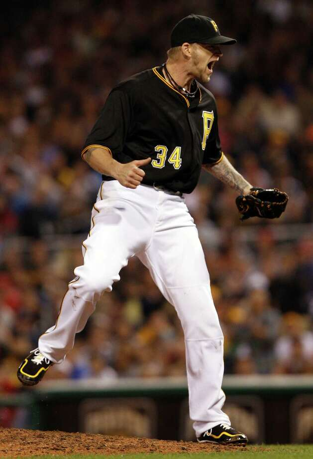Pirates starter A.J. Burnett was pumped up Saturday night, and with good reason after striking out 12 Reds. Photo: David Maxwell, Stringer / 2013 Getty Images