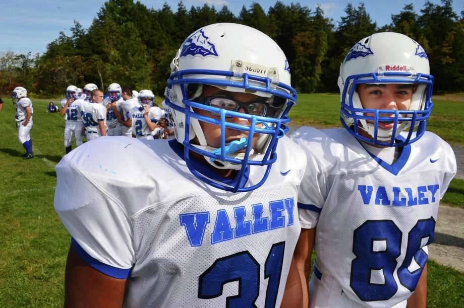 Hoosic Valley players Anthony Wasiyo, left, and Issac Sanchez during Saturday's game against Hoosic Valley Sept. 21, 2013, in Duanesburg.  (John Carl D'Annibale / Times Union) Photo: John Carl D'Annibale / 00023947A