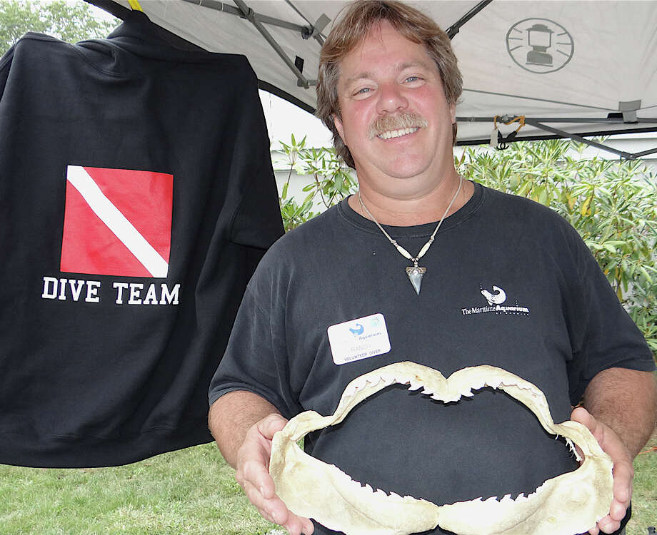 Randy Carford, a volunteer diver at Norwalk's Maritime Aquarium, shows off the jaws of a shark on Saturday at the Fairfield Kiwanis Club's Arts & Crafs Fair. Photo: Mike Lauterborn / Fairfield Citizen contributed