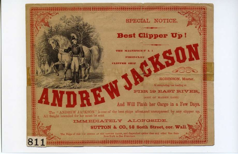 The Andrew Jackson was built in a shipyard in Mystic, Conn. as was one of the two fastest clippers ever built. Photo: Courtesy The Bancroft Library