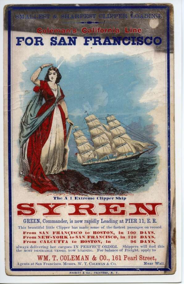 Syren was built in 1851 in Medford, Mass. and was still sailing as late as 1920. She suffered more accidents than almost any other vessel without actually sinking. Photo: Courtesy The Bancroft Library